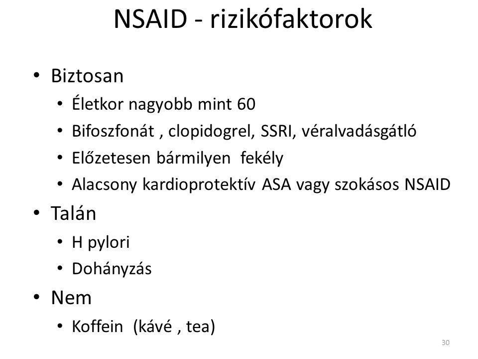 NSAID - rizikófaktorok • Biztosan • Életkor nagyobb mint 60 • Bifoszfonát, clopidogrel, SSRI, véralvadásgátló • Előzetesen bármilyen fekély • Alacsony