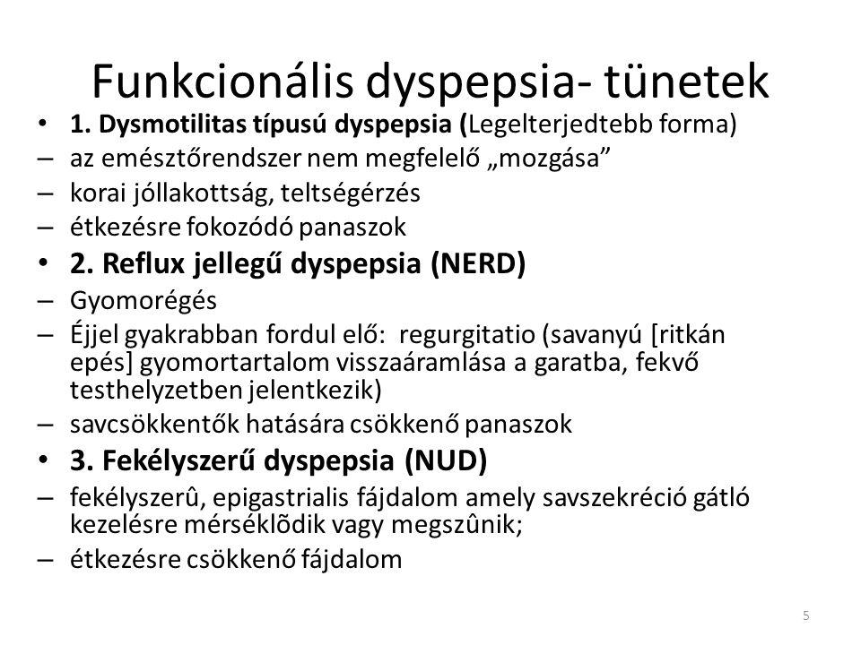 """Funkcionális dyspepsia- tünetek • 1. Dysmotilitas típusú dyspepsia (Legelterjedtebb forma) – az emésztőrendszer nem megfelelő """"mozgása"""" – korai jóllak"""