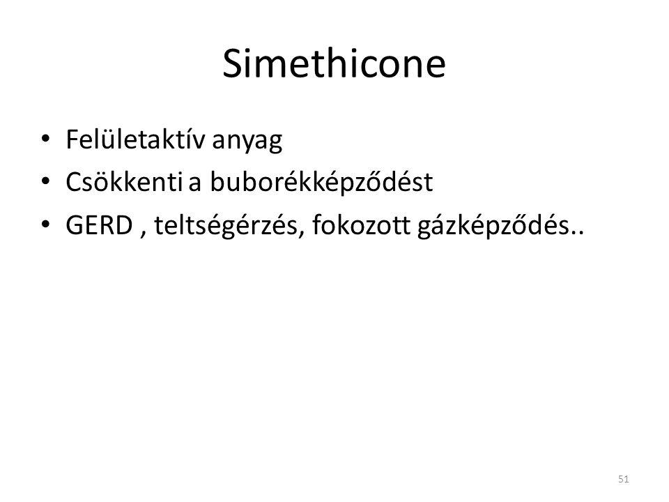 Simethicone • Felületaktív anyag • Csökkenti a buborékképződést • GERD, teltségérzés, fokozott gázképződés.. 51