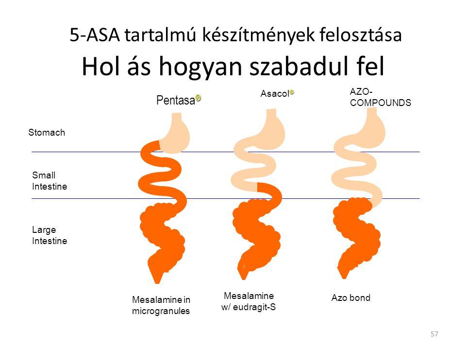 5-ASA tartalmú készítmények felosztása Hol ás hogyan szabadul fel Stomach Small Intestine Large Intestine Azo bond AZO- COMPOUNDS Mesalamine in microg