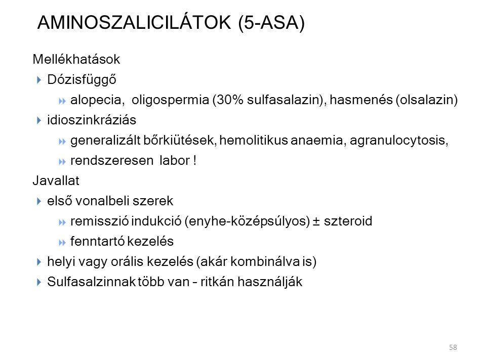 AMINOSZALICILÁTOK (5-ASA) Mellékhatások DDózisfüggő aalopecia, oligospermia (30% sulfasalazin), hasmenés (olsalazin) iidioszinkráziás ggeneral
