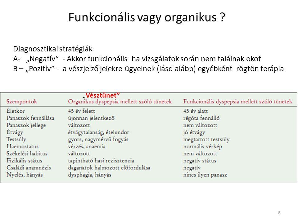 """Diagnosztikai stratégiák A- """"Negatív"""" - Akkor funkcionális ha vizsgálatok során nem találnak okot B – """"Pozitív"""" - a vészjelző jelekre ügyelnek (lásd a"""