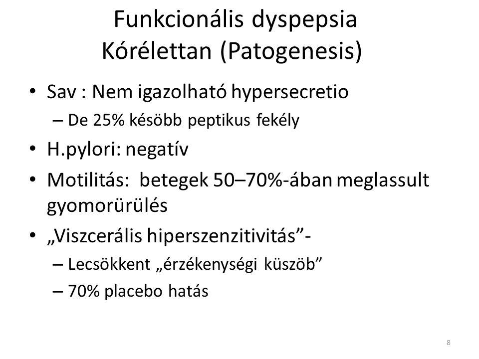 Funkcionális dyspepsia Kórélettan (Patogenesis) • Sav : Nem igazolható hypersecretio – De 25% késöbb peptikus fekély • H.pylori: negatív • Motilitás: