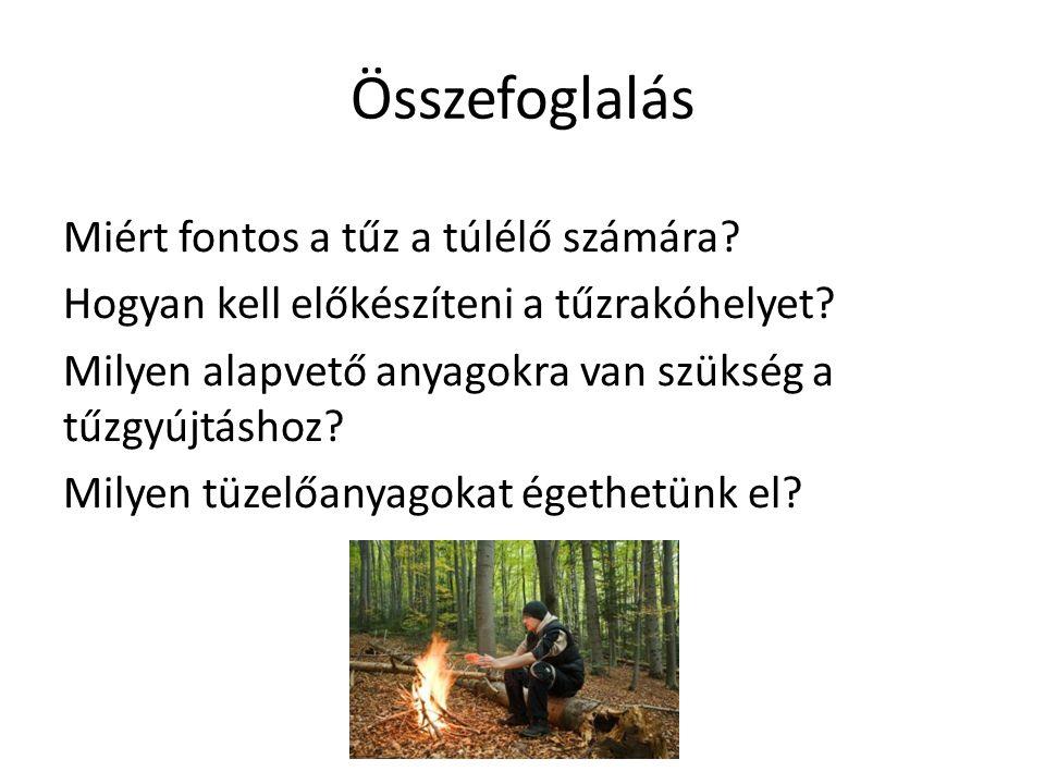 Összefoglalás Miért fontos a tűz a túlélő számára? Hogyan kell előkészíteni a tűzrakóhelyet? Milyen alapvető anyagokra van szükség a tűzgyújtáshoz? M