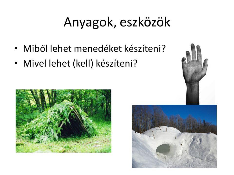 Anyagok, eszközök • Miből lehet menedéket készíteni? • Mivel lehet (kell) készíteni?