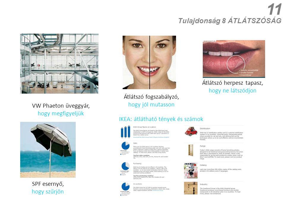 11 Tulajdonság 8 ÁTLÁTSZÓSÁG Átlátszó fogszabályzó, hogy jól mutasson SPF esernyő, hogy szűrjön IKEA: átlátható tények és számok VW Phaeton üveggyár,