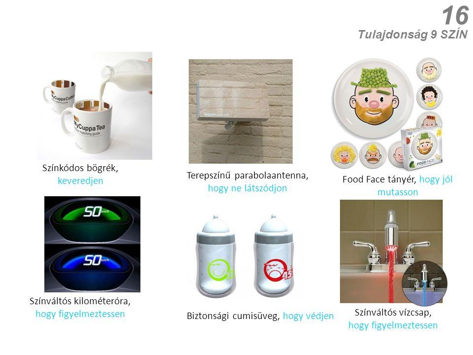 16 Tulajdonság 9 SZÍN Biztonsági cumisüveg, hogy védjen Színváltós kilométeróra, hogy figyelmeztessen Food Face tányér, hogy jól mutasson Terepszínű p