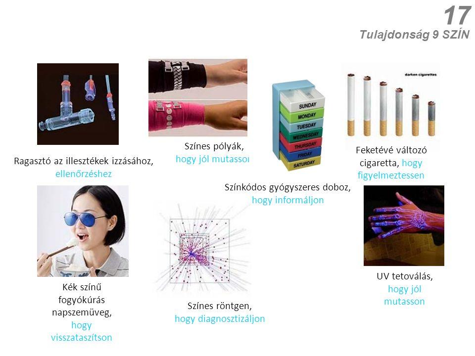 17 Tulajdonság 9 SZÍN Kék színű fogyókúrás napszemüveg, hogy visszataszítson Színkódos gyógyszeres doboz, hogy informáljon Feketévé változó cigaretta,