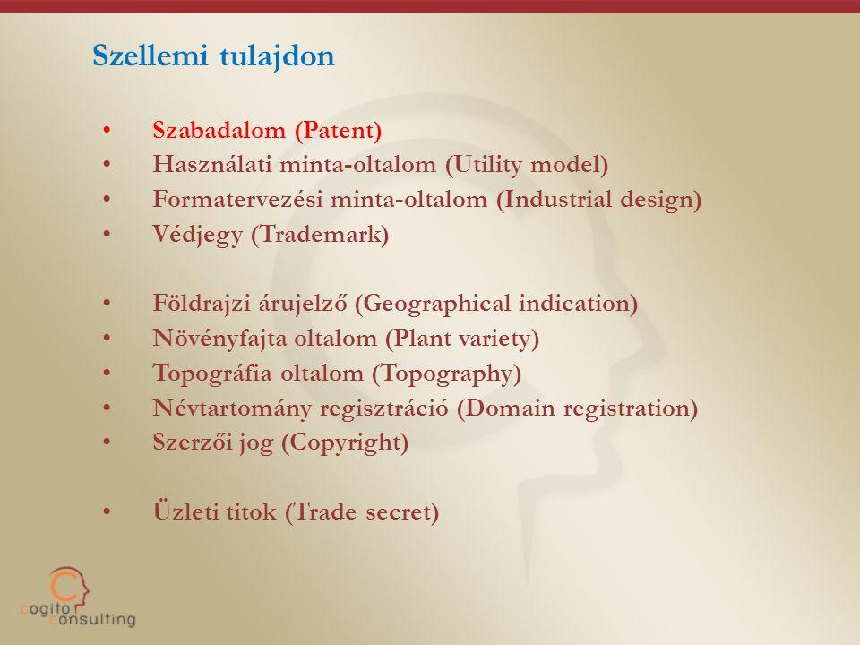 Szellemi tulajdon •Szabadalom (Patent) •Használati minta-oltalom (Utility model) •Formatervezési minta-oltalom (Industrial design) •Védjegy (Trademark