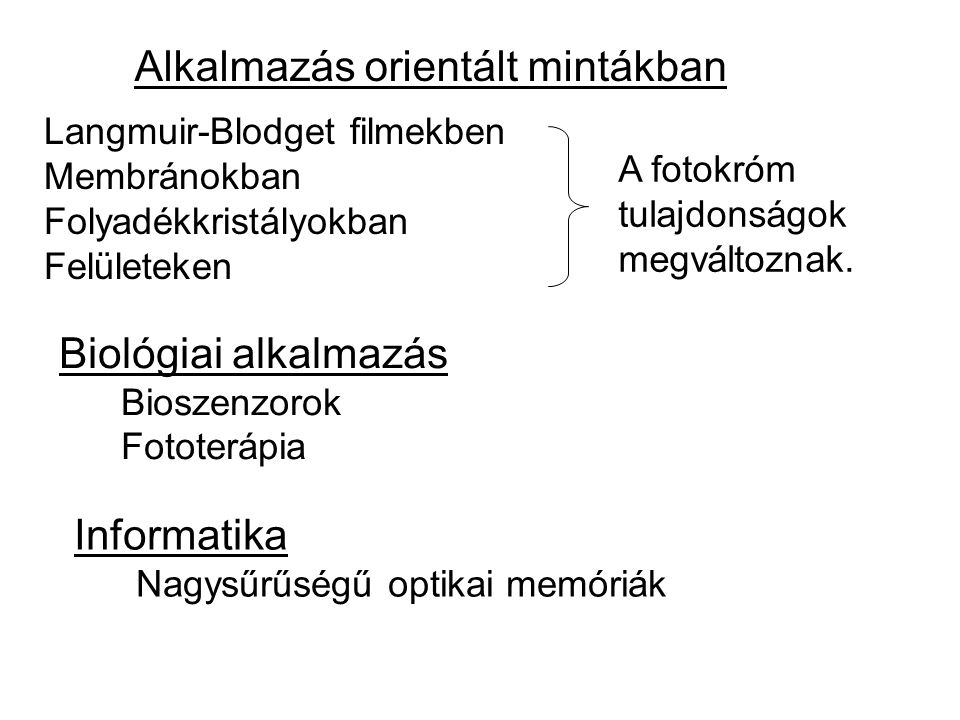 Alkalmazás orientált mintákban Langmuir-Blodget filmekben Membránokban Folyadékkristályokban Felületeken Biológiai alkalmazás Bioszenzorok Fototerápia