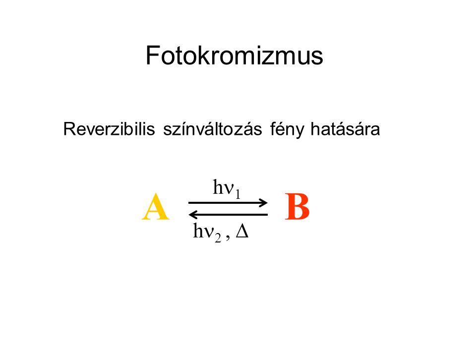 Fotokromizmus Reverzibilis színváltozás fény hatására AB h1h1 h  2, 