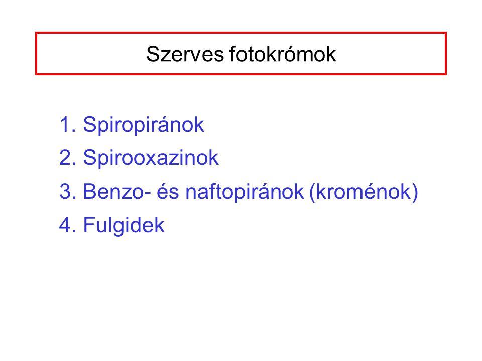 Szerves fotokrómok 1. Spiropiránok 2. Spirooxazinok 3. Benzo- és naftopiránok (kroménok) 4. Fulgidek