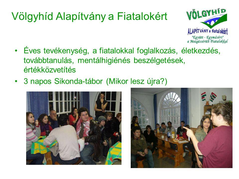 Völgyhíd Alapítvány a Fiatalokért •Éves tevékenység, a fiatalokkal foglalkozás, életkezdés, továbbtanulás, mentálhigiénés beszélgetések, értékközvetítés •3 napos Sikonda-tábor (Mikor lesz újra )