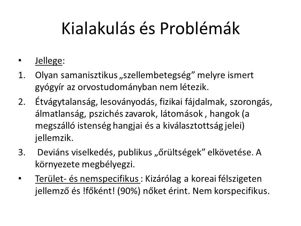 """Kialakulás és Problémák • Jellege: 1.Olyan samanisztikus """"szellembetegség"""" melyre ismert gyógyír az orvostudományban nem létezik. 2.Étvágytalanság, le"""