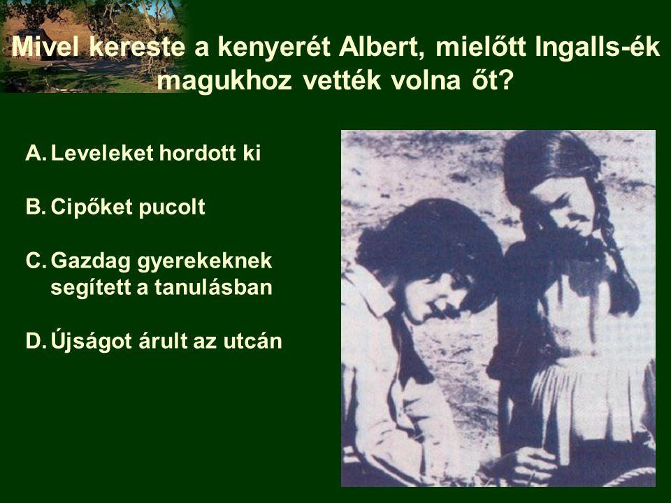 Mivel kereste a kenyerét Albert, mielőtt Ingalls-ék magukhoz vették volna őt? A.Leveleket hordott ki B.Cipőket pucolt C.Gazdag gyerekeknek segített a
