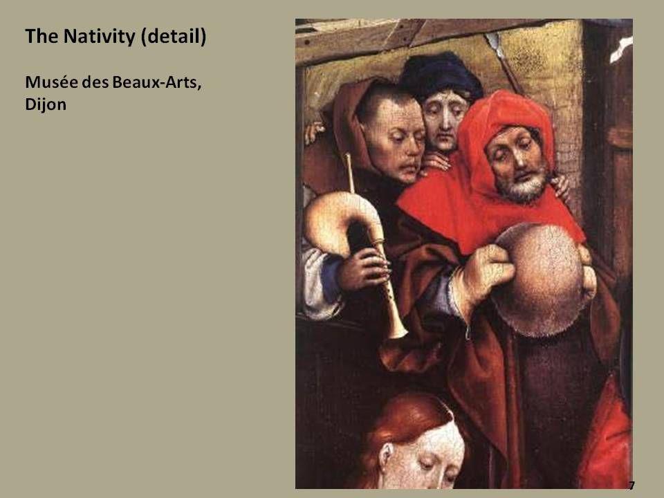 A jobb oldali táblán az elrendezés nagyjából a Mérode-oltár középképét követi.