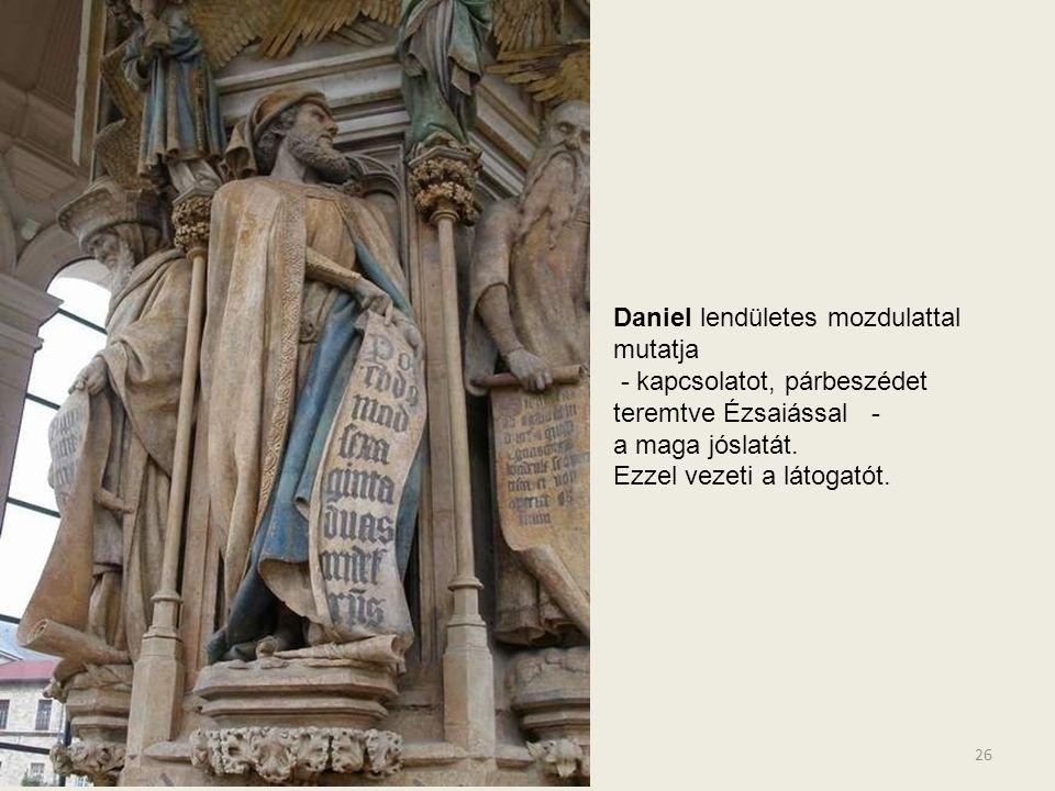 Zakariás drámai arccal tekint a szemlélőre, hatására személyesen is átélheti a fájdalmas jövendölést. 25