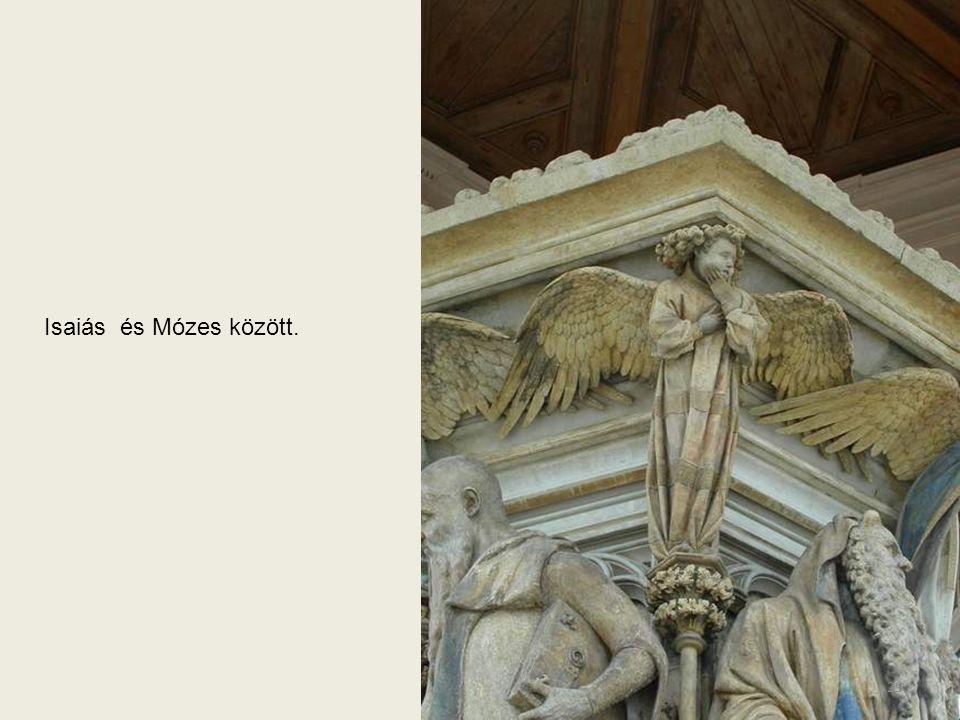 A hatszög sarkára síró, mély gyászukat arcukon hordozó, szárnyukat kitárt angyalok láthatók. Itt Mózes és Dávid között. 28