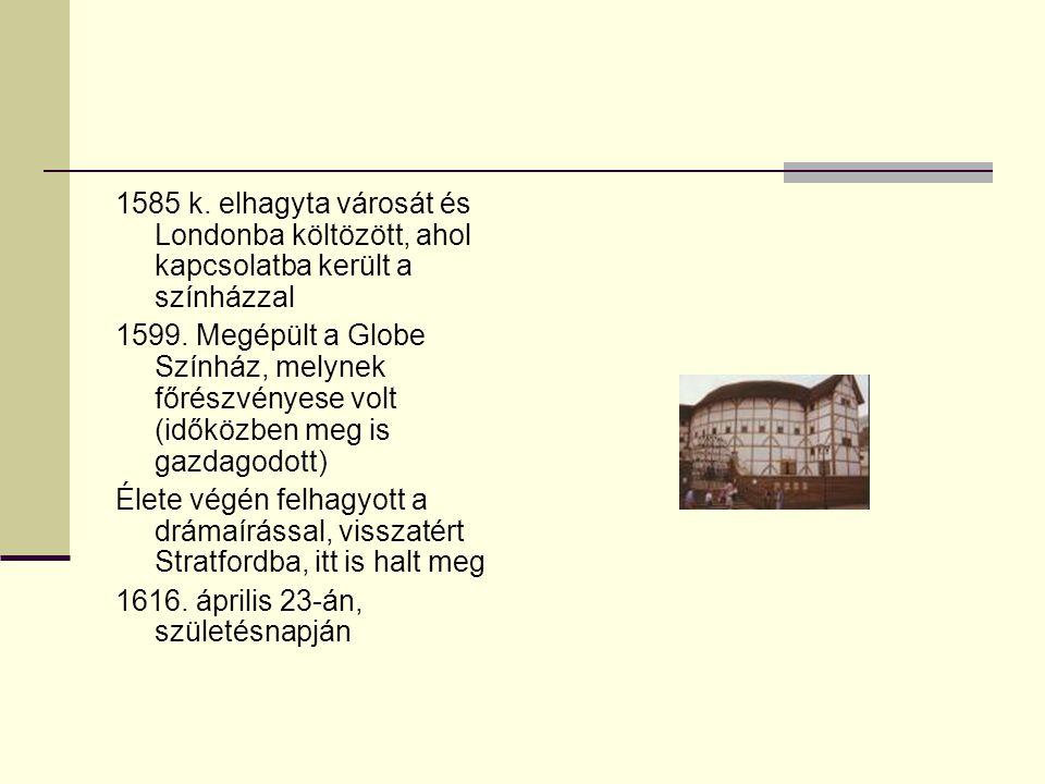 Pályája: 1.Szakasz (1590-1600) Kb. 22 darab - Királydrámák - Tragédiák (pl.
