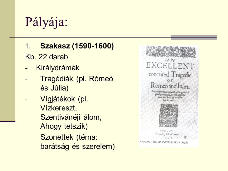 2.Szakasz (1601-1613) Világszemlélete komorabbá vált (Erzsébet halála) Főként tragédiák pl.