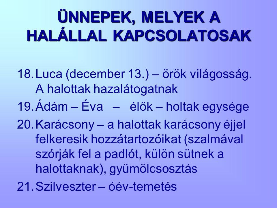 ÜNNEPEK, MELYEK A HALÁLLAL KAPCSOLATOSAK 18.Luca (december 13.) – örök világosság. A halottak hazalátogatnak 19.Ádám – Éva – élők – holtak egysége 20.