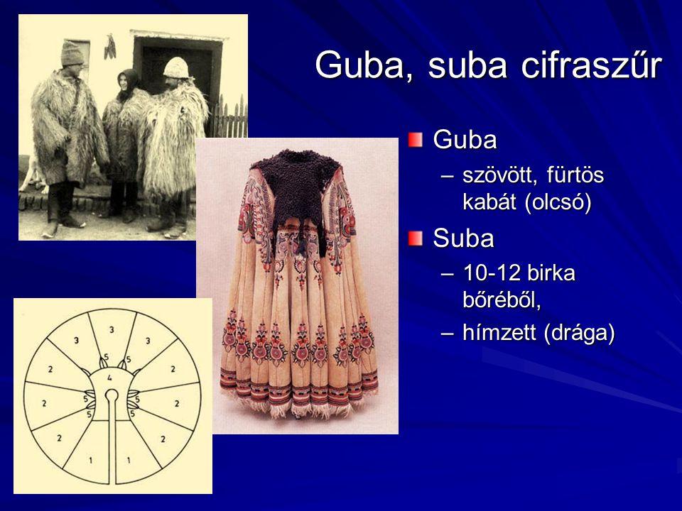 Guba, suba cifraszűr Guba –szövött, fürtös kabát (olcsó)Suba –10-12 birka bőréből, –hímzett (drága)