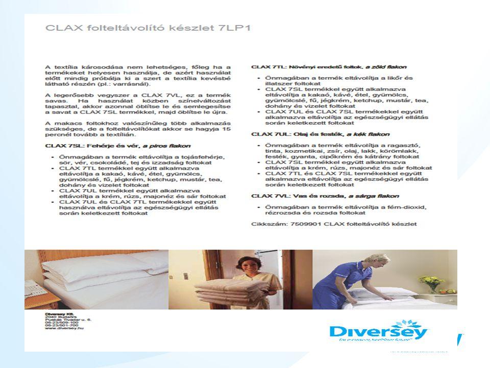 CLAX® 100 OB Colour and key-coded •Kiemelt optikai fehérítővel készült adalékanyag •Jó zsíroldó képesség •Használatával a textíliák fehérsége látványosan javul •Elsősorban szállodai és kórházi textíliákhoz javasolt •Nincs konkurens termék a piacon ilyen magas hatóanyag- tartalommal.