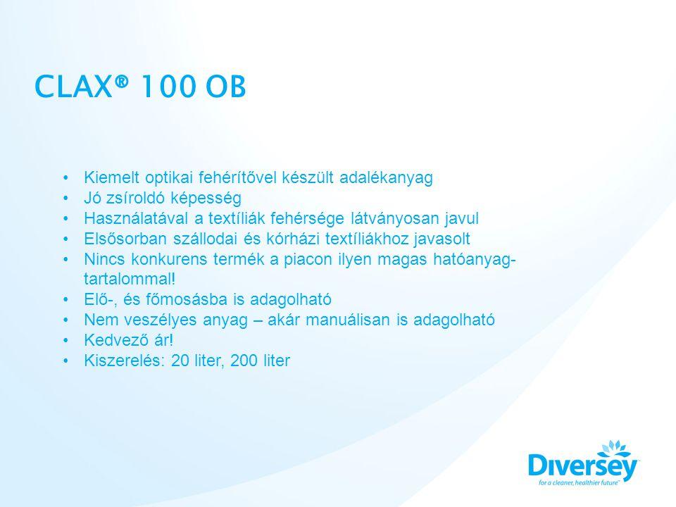 CLAX® 100 OB Colour and key-coded •Kiemelt optikai fehérítővel készült adalékanyag •Jó zsíroldó képesség •Használatával a textíliák fehérsége látványo