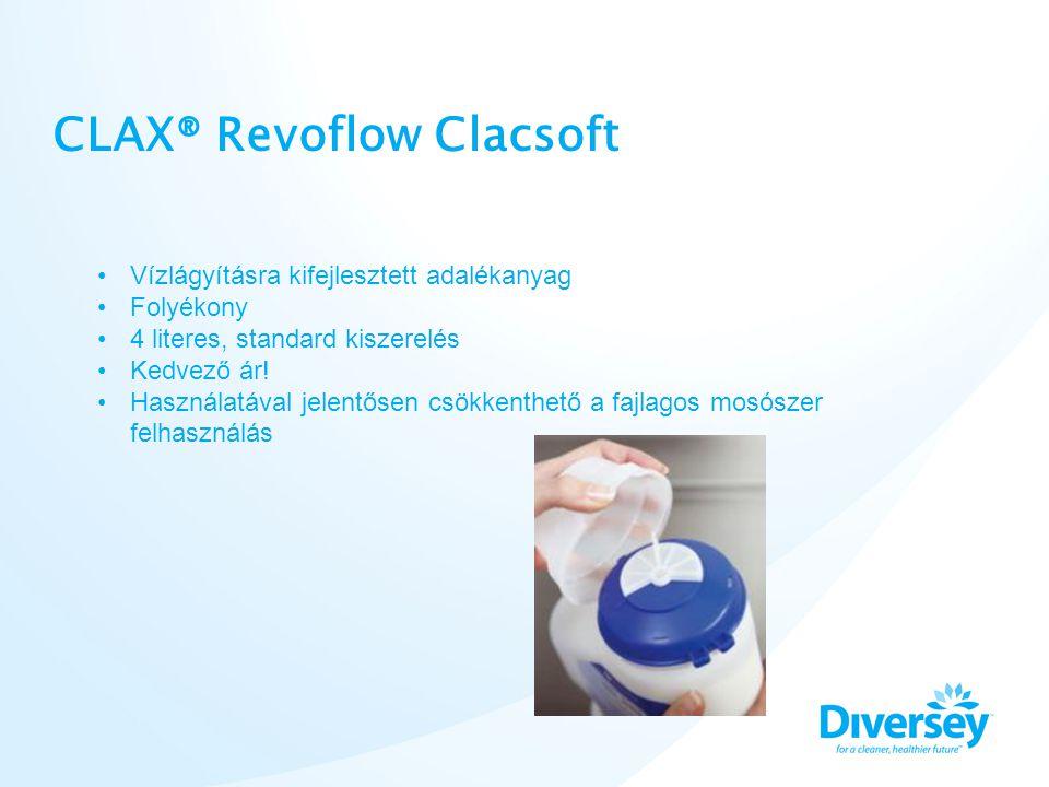 CLAX® Revoflow Clacsoft Colour and key-coded •Vízlágyításra kifejlesztett adalékanyag •Folyékony •4 literes, standard kiszerelés •Kedvező ár! •Használ