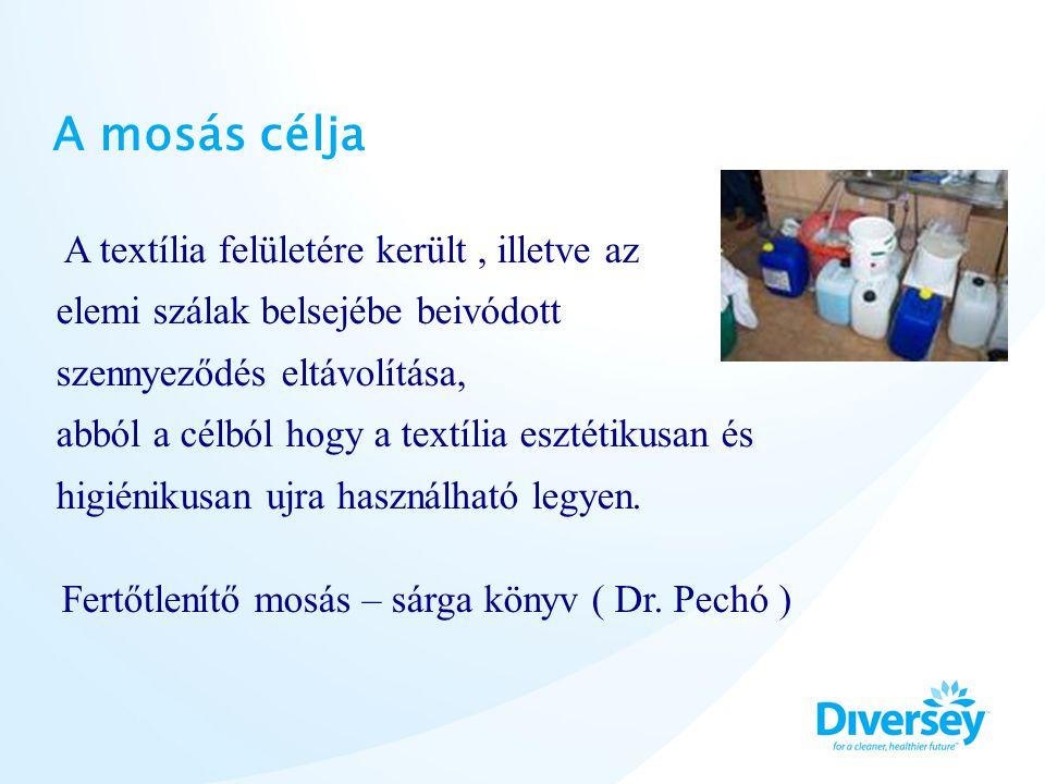 Vegyszerhasználat a mosási fázisokban Előmosás - előmosószer, amely tartalmaz enzimet - vér és fehérjeoldó adalékanyag ( lúg és enzimkoncentrátum ) Főmosás - főmosószer, amely tartalmaz felületaktív anyagot ( tenzid ) - fehérítő-, fertőtlenítőszer - zsír, és olajoldó adalékanyag ( tenzidkoncentrátum ) Öblítés –semlegesítés - fehérítő-, fertőtlenítőszer - semlegesítőszer ( ecetsav, hangyasav, citromsav ), illat, antisztatizálás