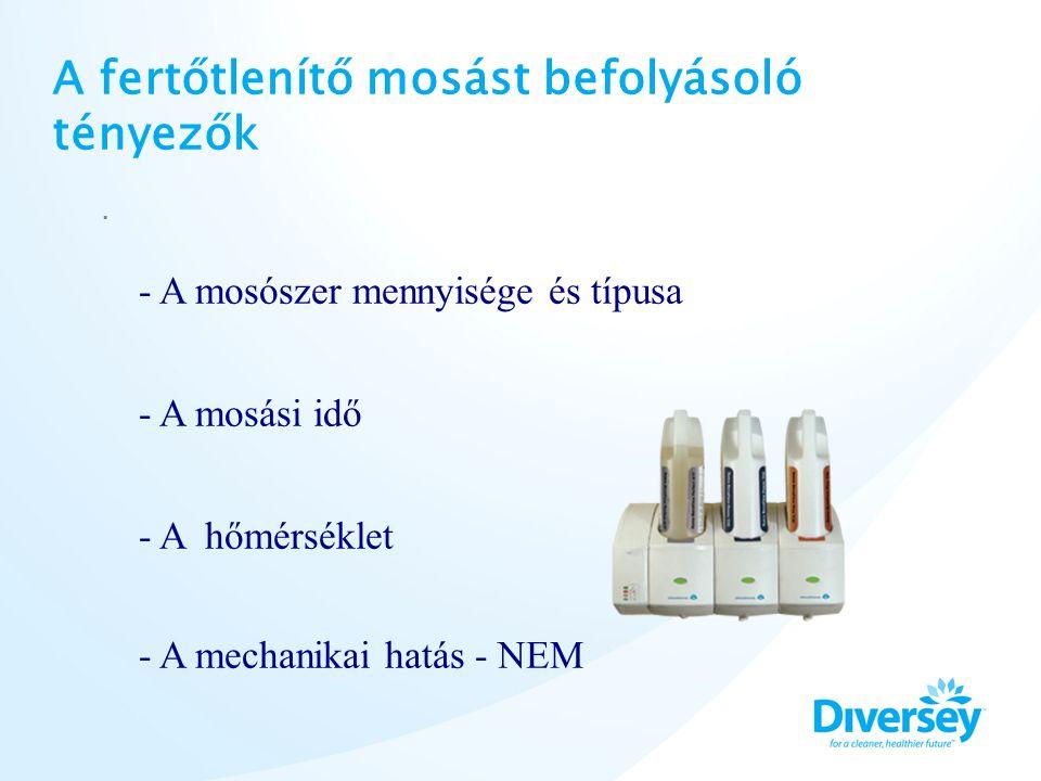 A fertőtlenítő mosást befolyásoló tényezők. - A mosószer mennyisége és típusa - A mosási idő - A hőmérséklet - A mechanikai hatás - NEM