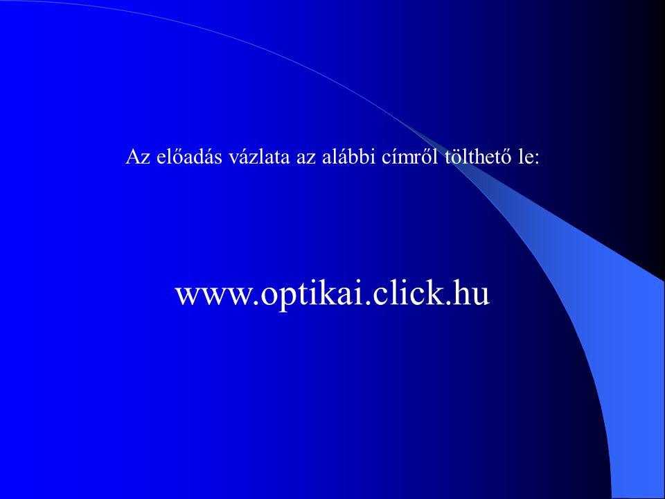 Az előadás vázlata az alábbi címről tölthető le: www.optikai.click.hu