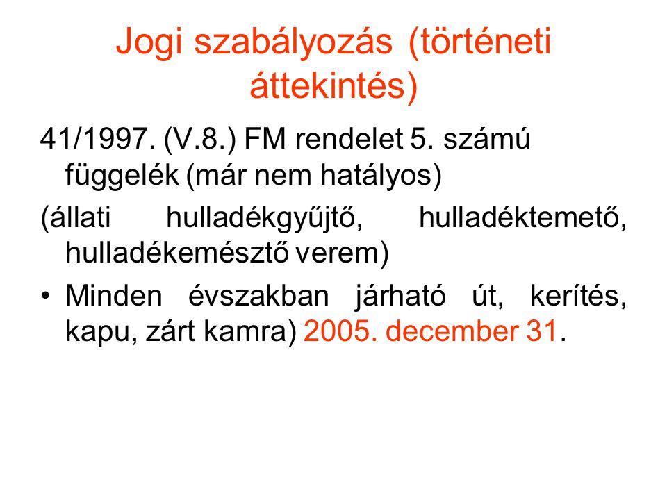 Jogi szabályozás (történeti áttekintés) 41/1997. (V.8.) FM rendelet 5. számú függelék (már nem hatályos) (állati hulladékgyűjtő, hulladéktemető, hulla