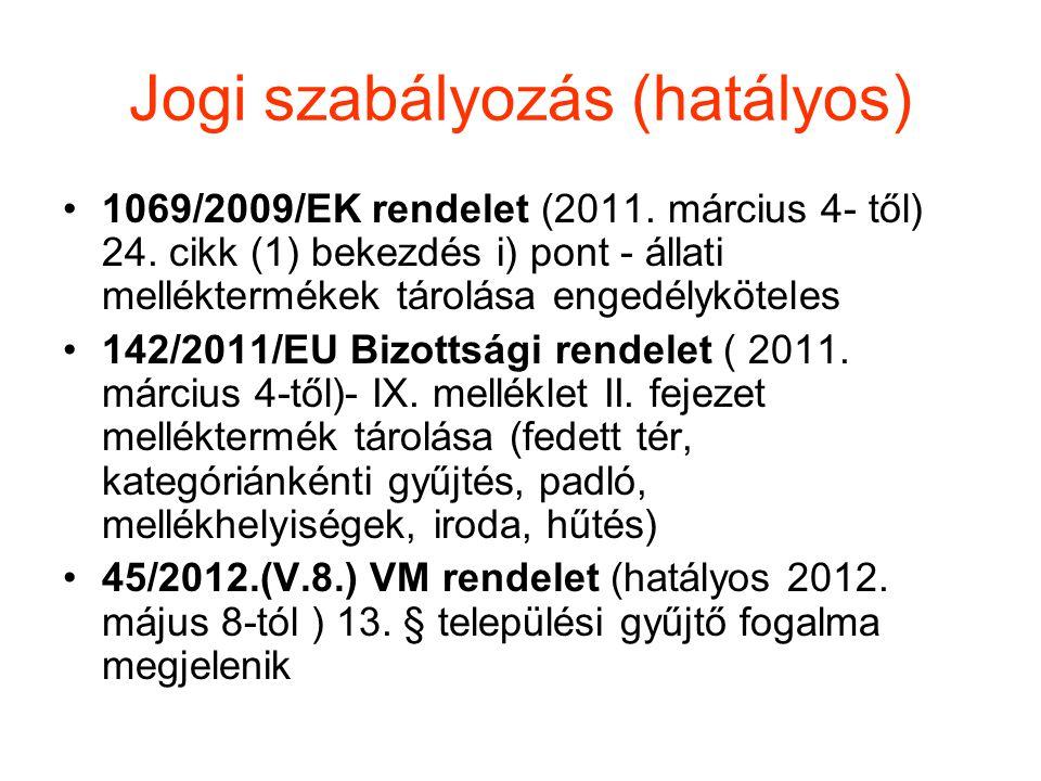 Jogi szabályozás (hatályos) •1069/2009/EK rendelet (2011. március 4- től) 24. cikk (1) bekezdés i) pont - állati melléktermékek tárolása engedélykötel