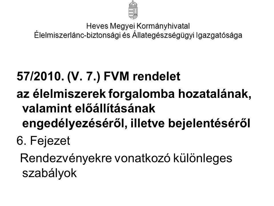 57/2010. (V. 7.) FVM rendelet az élelmiszerek forgalomba hozatalának, valamint előállításának engedélyezéséről, illetve bejelentéséről 6. Fejezet Rend