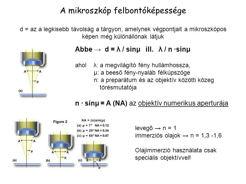 A mikroszkóp felbontóképessége (folyt.) Az optikai tengellyel párhuzamos megvilágítás esetén: d= λ / n ·sinµ = λ / A Ferde megvilágítás esetén: d= λ / 2 ·n ·sinµ = λ / 2A ↑