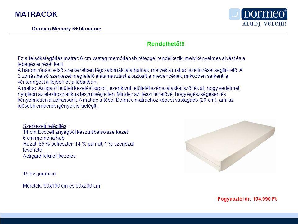 MATRACOK Dormeo Memory 6+14 matrac Ez a felsőkategóriás matrac 6 cm vastag memóriahab-réteggel rendelkezik, mely kényelmes alvást és a lebegés érzését kelti.