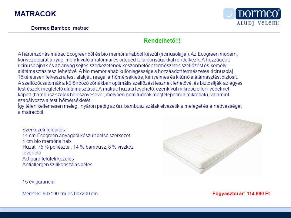 MATRACOK Dormeo Bamboo matrac A háromzónás matrac Ecogreenből és bio memóriahabból készül (ricinusolajjal).