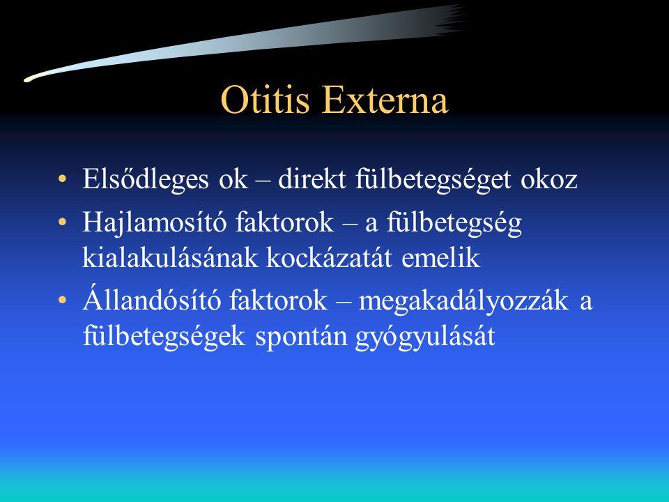 Otitis Externa •Elsődleges ok – direkt fülbetegséget okoz •Hajlamosító faktorok – a fülbetegség kialakulásának kockázatát emelik •Állandósító faktorok