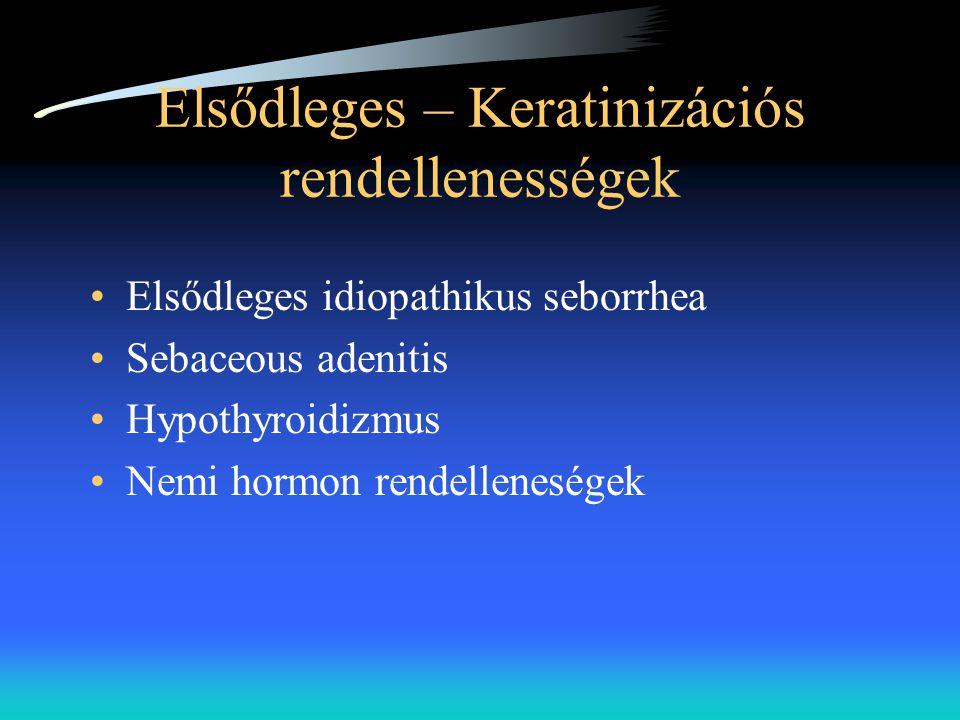 Elsődleges – Keratinizációs rendellenességek •Elsődleges idiopathikus seborrhea •Sebaceous adenitis •Hypothyroidizmus •Nemi hormon rendelleneségek