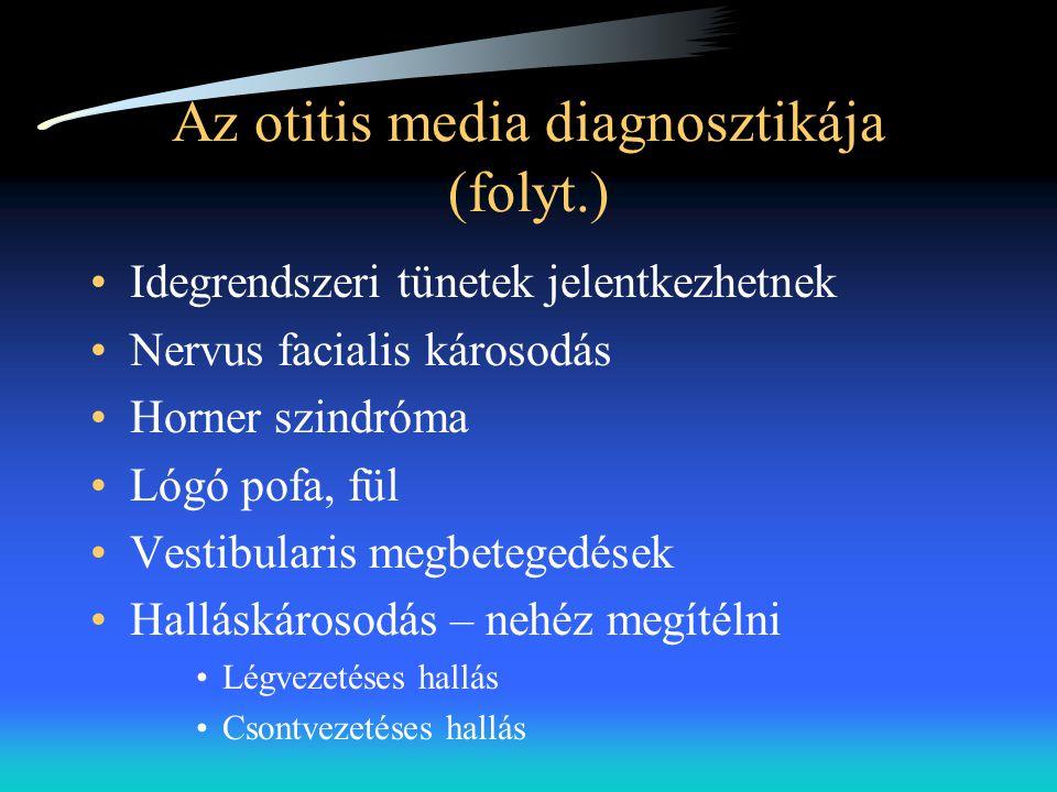 Az otitis media diagnosztikája (folyt.) •Idegrendszeri tünetek jelentkezhetnek •Nervus facialis károsodás •Horner szindróma •Lógó pofa, fül •Vestibula