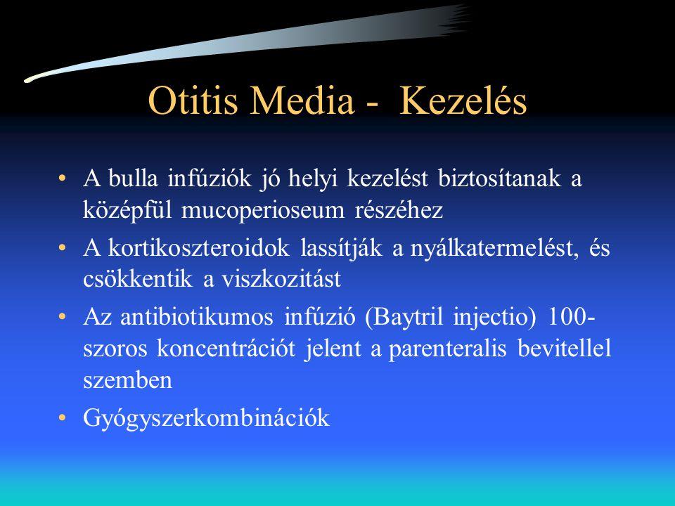 Otitis Media - Kezelés •A bulla infúziók jó helyi kezelést biztosítanak a középfül mucoperioseum részéhez •A kortikoszteroidok lassítják a nyálkaterme
