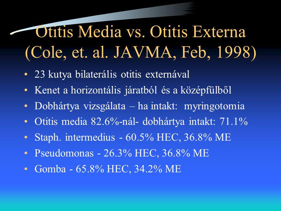 Otitis Media vs. Otitis Externa (Cole, et. al. JAVMA, Feb, 1998) •23 kutya bilaterális otitis externával •Kenet a horizontális járatból és a középfülb