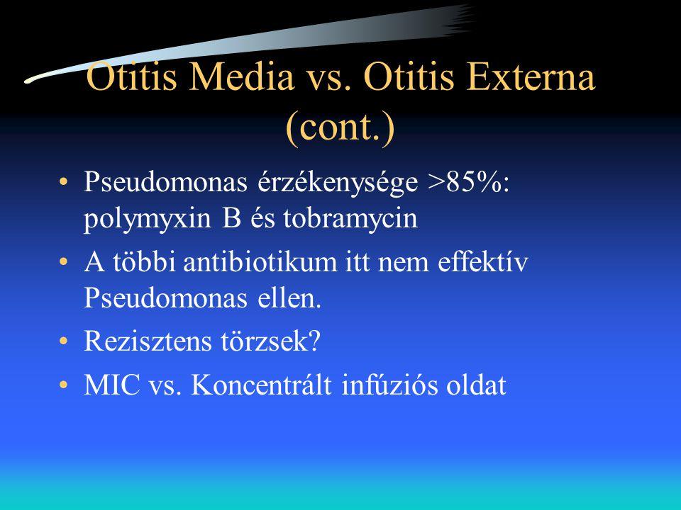Otitis Media vs. Otitis Externa (cont.) •Pseudomonas érzékenysége >85%: polymyxin B és tobramycin •A többi antibiotikum itt nem effektív Pseudomonas e