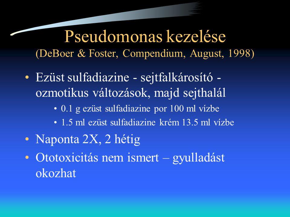 Pseudomonas kezelése (DeBoer & Foster, Compendium, August, 1998) •Ezüst sulfadiazine - sejtfalkárosító - ozmotikus változások, majd sejthalál •0.1 g e