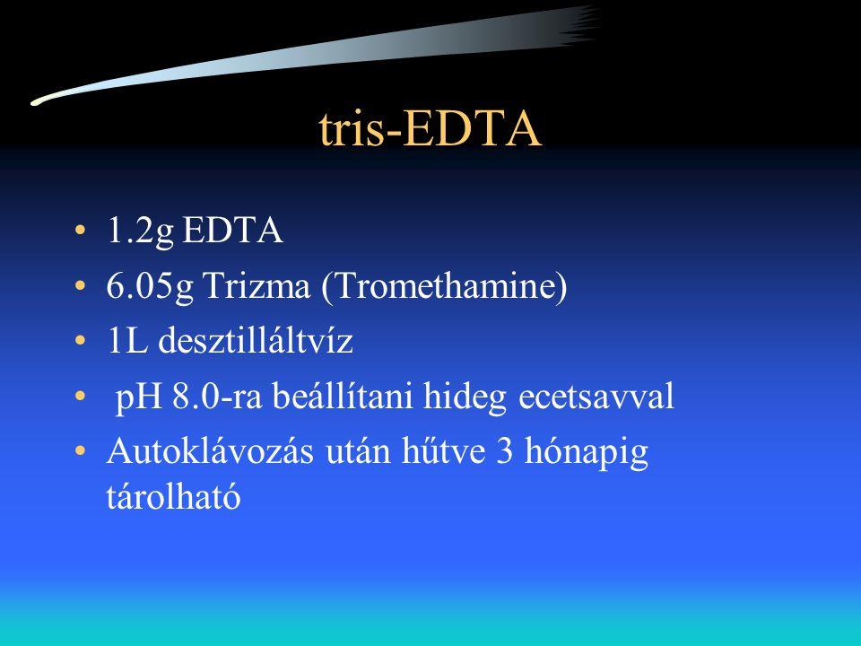tris-EDTA •1.2g EDTA •6.05g Trizma (Tromethamine) •1L desztilláltvíz • pH 8.0-ra beállítani hideg ecetsavval •Autoklávozás után hűtve 3 hónapig tárolh