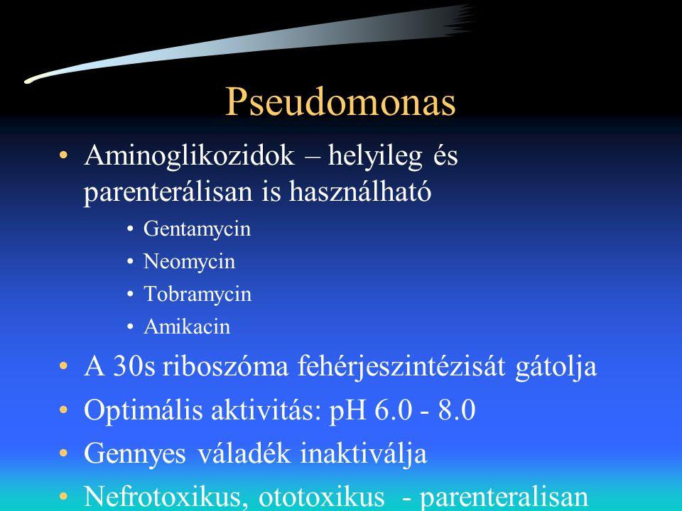 Pseudomonas •Aminoglikozidok – helyileg és parenterálisan is használható •Gentamycin •Neomycin •Tobramycin •Amikacin •A 30s riboszóma fehérjeszintézis