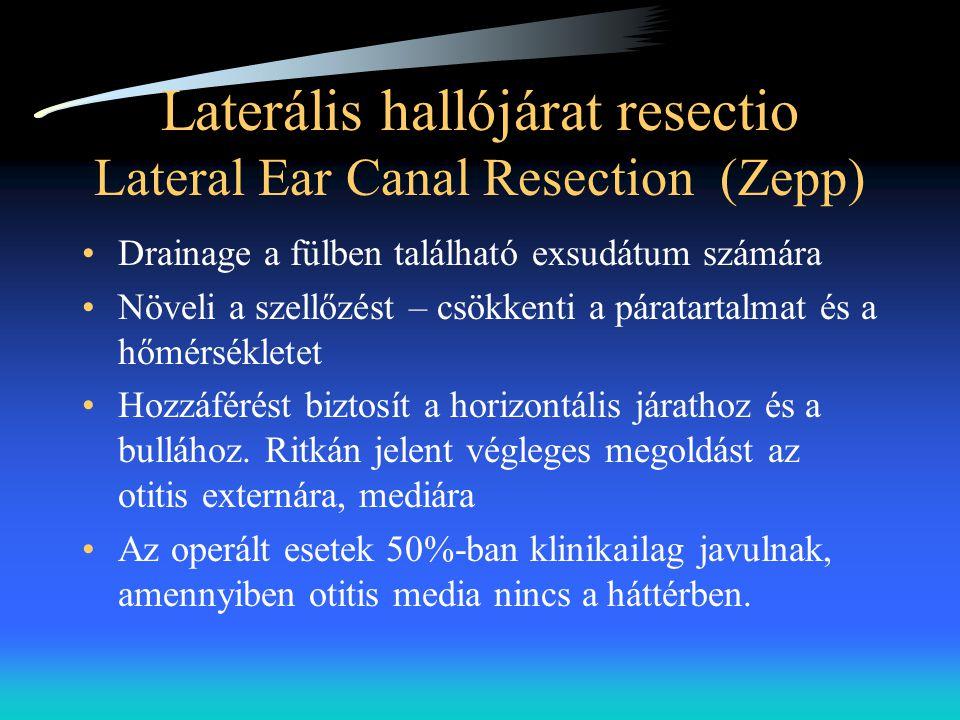 Laterális hallójárat resectio Lateral Ear Canal Resection (Zepp) •Drainage a fülben található exsudátum számára •Növeli a szellőzést – csökkenti a pár