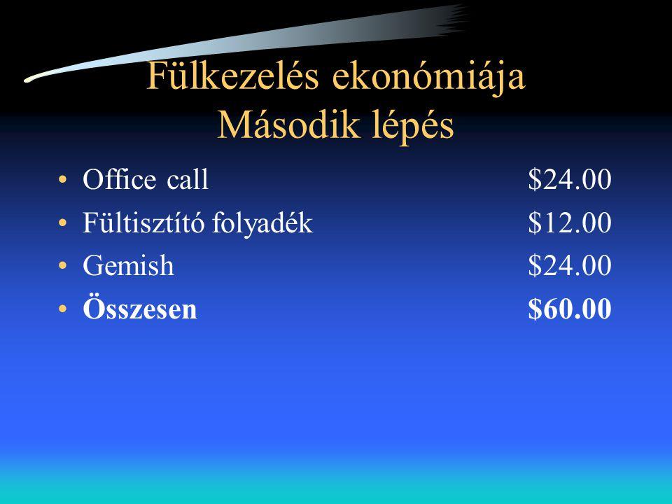 Fülkezelés ekonómiája Második lépés •Office call $24.00 •Fültisztító folyadék$12.00 •Gemish$24.00 •Összesen$60.00