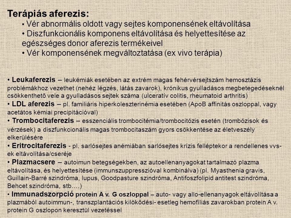 Terápiás aferezis: • Vér abnormális oldott vagy sejtes komponensének eltávolítása • Diszfunkcionális komponens eltávolítása és helyettesítése az egész